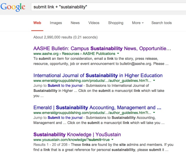 Link Building - Sustainability Search Results