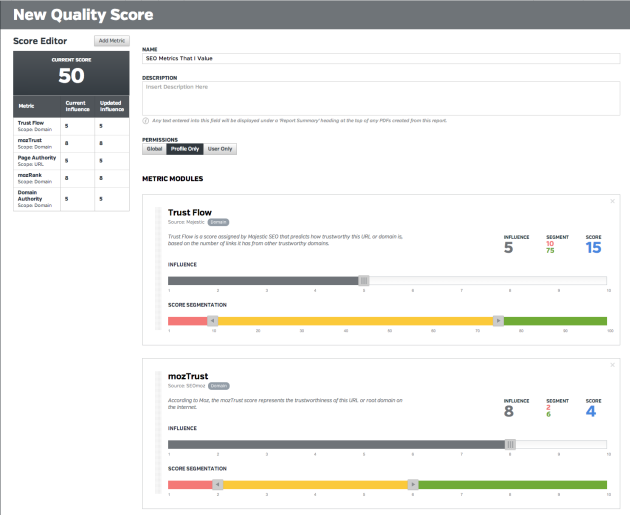 Quality Score with custom metrics