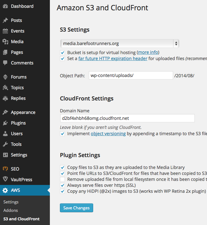 AWS WordPress Plugin Settings