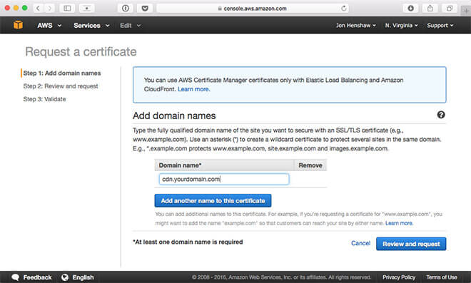Request AWS SSL Certificate