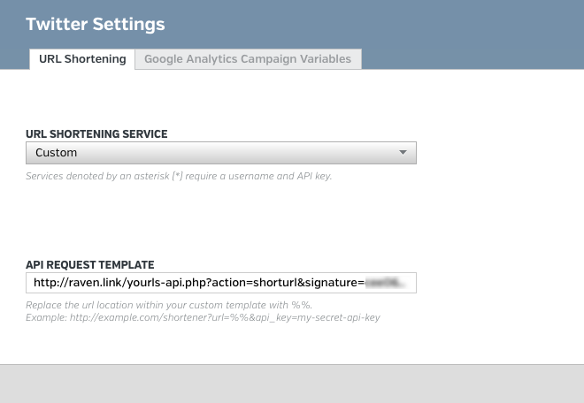 Customer URL Shortener Setting