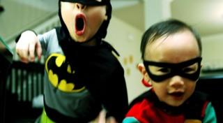 Kids in Batman and Robin Costume