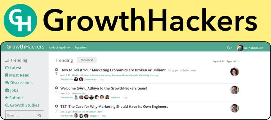 GrowthHackers marketing upvote website