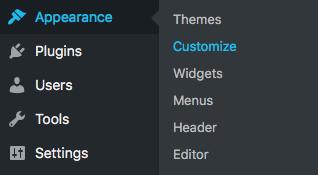 Appearance Settings in wordpress
