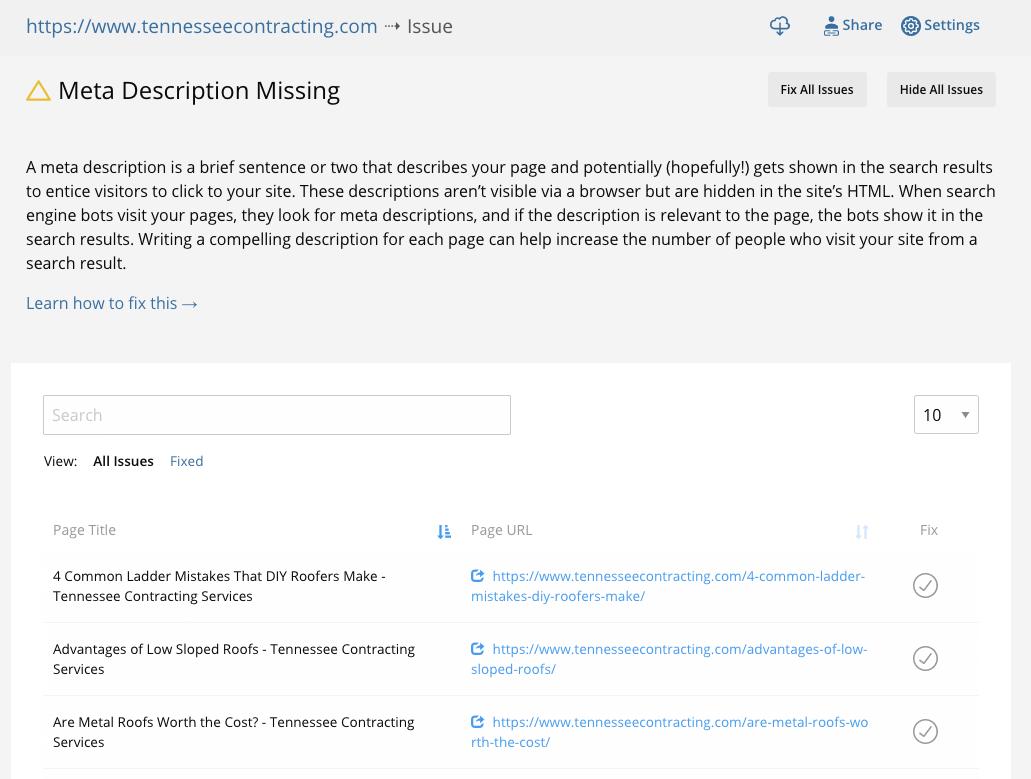 Find missing meta descriptions