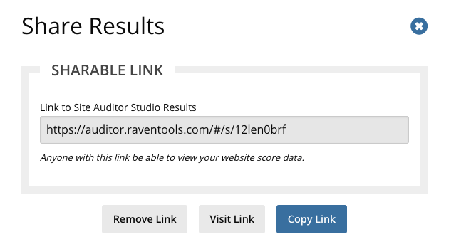 Share your entire site audit result