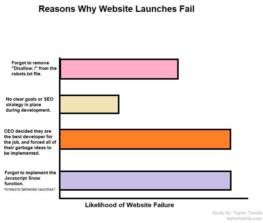 Reasons why website launches fail.