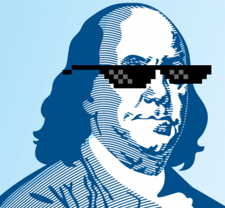 benjamin franklin in pixel sunglasses
