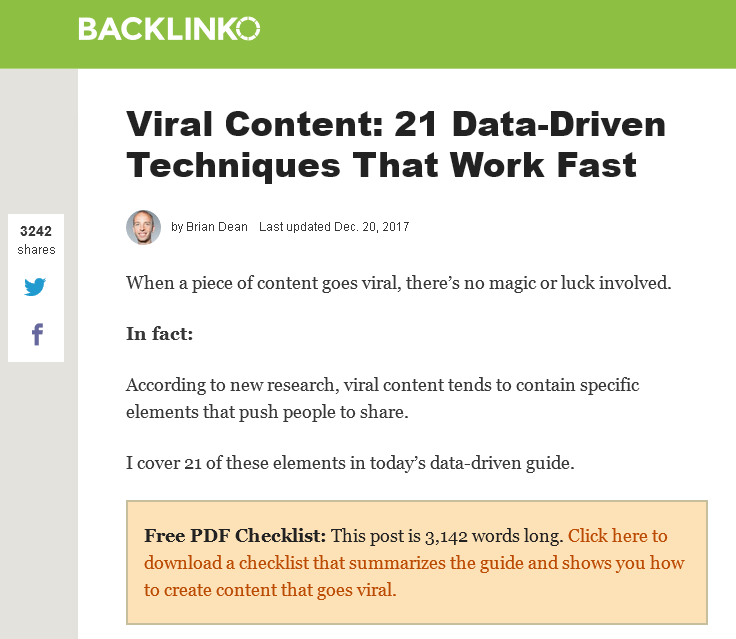 Screen shot from Backlinko where he warns of article length and offers PDF summary/checklist instead.