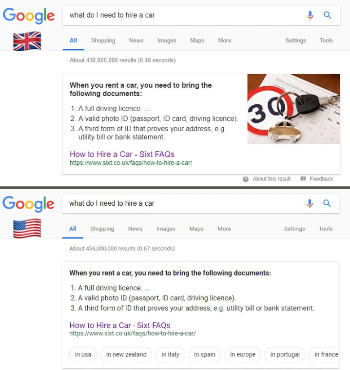 US SERP v. UK SERP