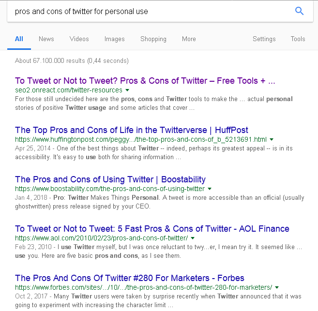 My SEO 2.0 blog is ranking on #1 for [pros and cons of Twitter for personal use] on Google above Huffington Post, AOL and Forbes.