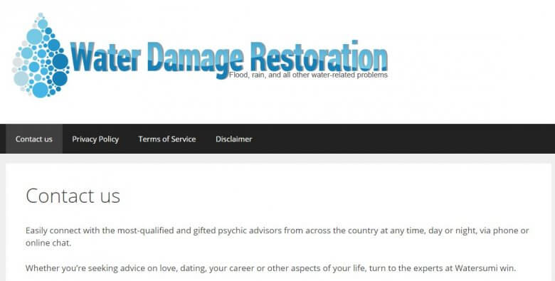 Water damage restoration plus psychic hotline means negative SEO at work
