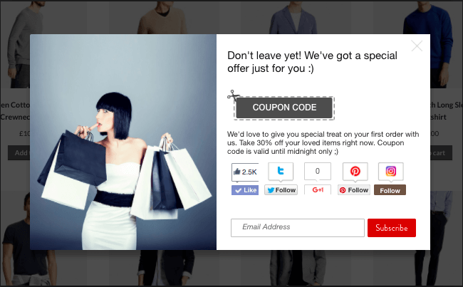 Provide Coupons with Exit-Intent Technology