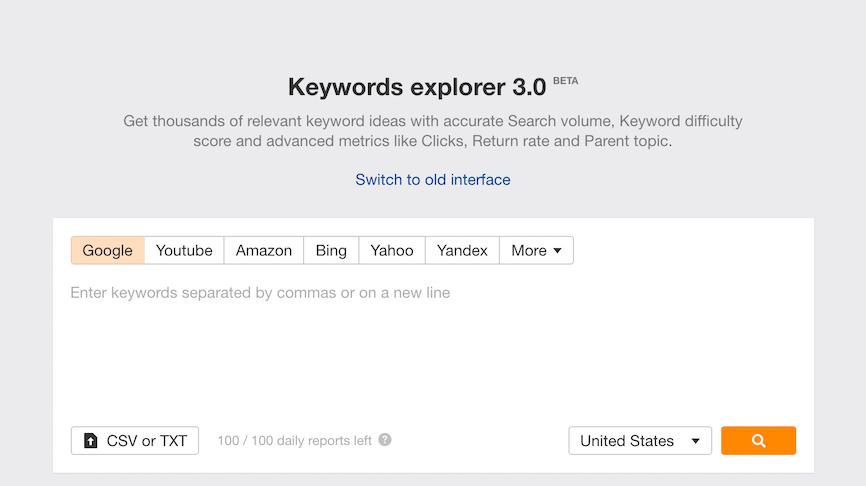 Keyword Explorer 3.0 Ahrefs