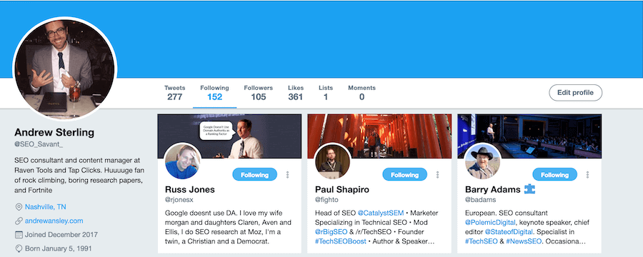 Andrew's Twitter Profile Example