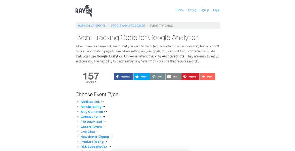 Event Tracking Code for Google Analytics