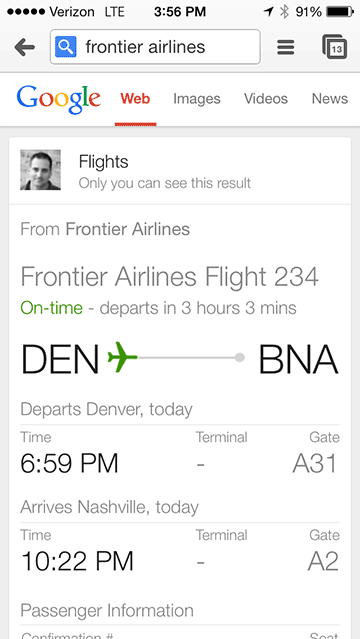 Flight Status on iPhone
