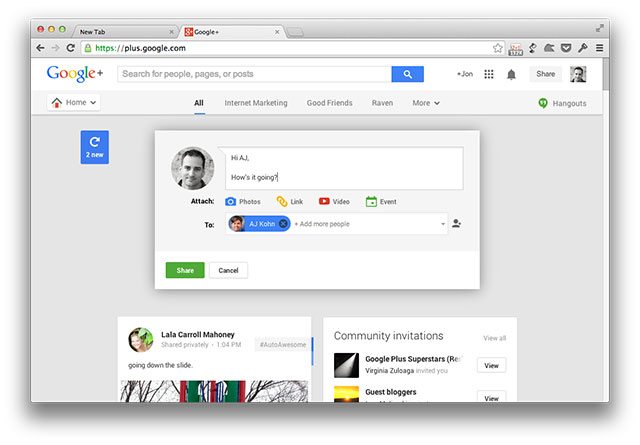 Google Plus Compose Message