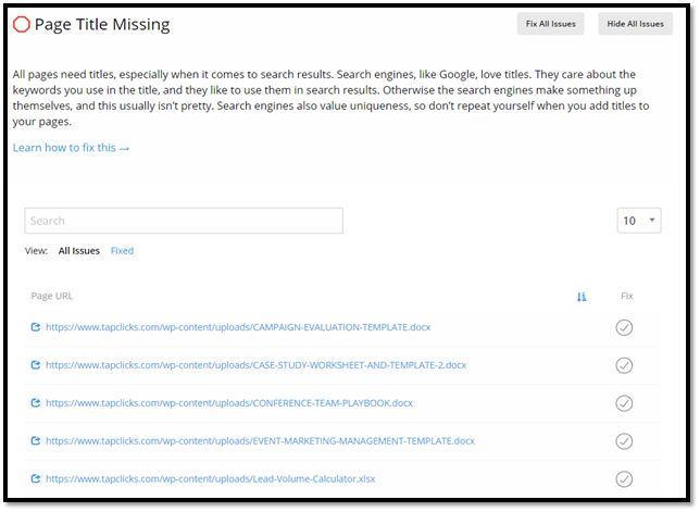 Missing Page Title – Site Auditor