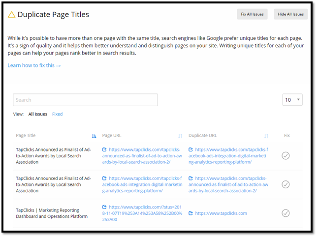 uplicate Page Title – Site Auditor