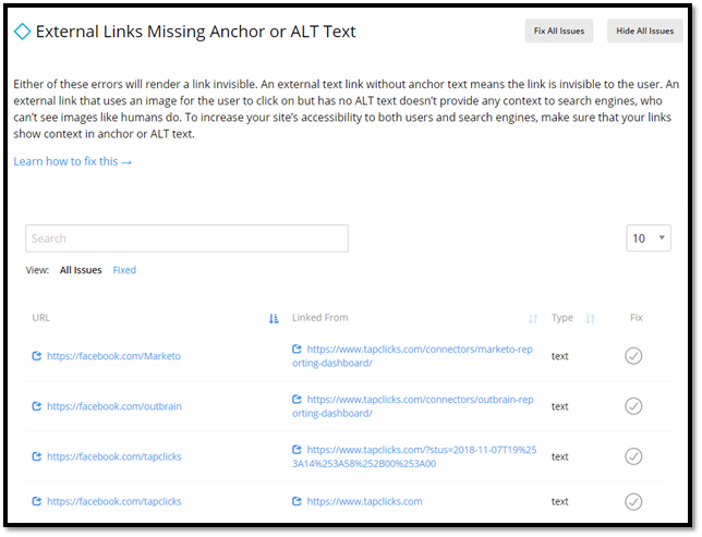 Anchor Text for External Links