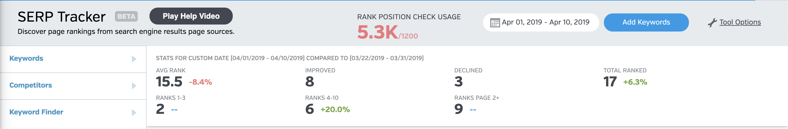 Serp Rank Tracker Menu