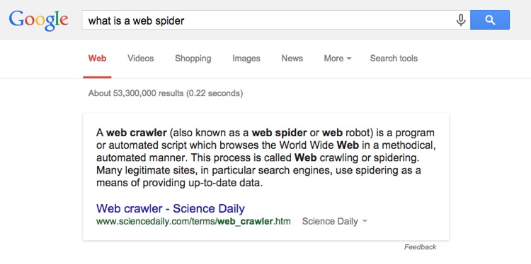 Google scraping a defintion for web spider
