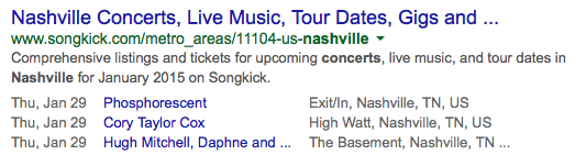 Event Rich Snippet in Google Search Result