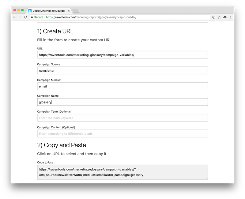 GA URL Builder